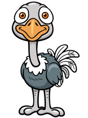 Vector illustration of Cartoon ostrich