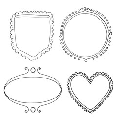 Set of hand drawn frame and dividers. Doodle vector design