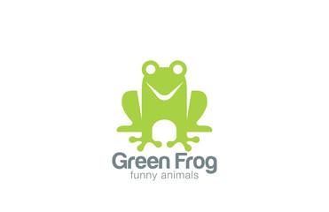 Green Frog Silhouette Logo design vector template