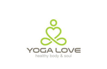 Yoga Logo design vector. Heart shape SPA logotype icon