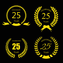 Golden laurel wreath 25 years set -   jubilee,  twenty five