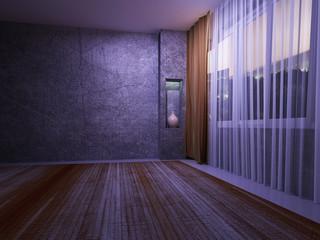 dark room with a big window,