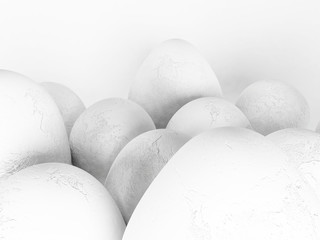 many eggs on the white background,
