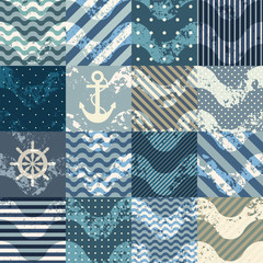 Patchwork in nautical stylw with grunge waves.