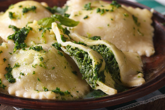 Italian ravioli stuffed with spinach and cheese macro