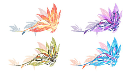 Abstract flower illustration 4 colors