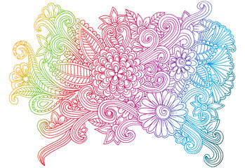 Doodle flowers. Line art hand drawing floral pattern