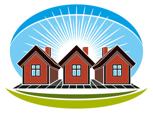 Real estate conceptual picture. Illustration of houses construct