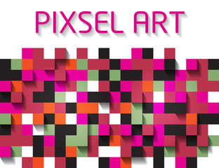 Abstract pixelated colorful background. Pixel art.