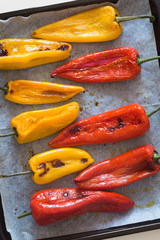 Freshly Baked Red and Yellow Peppers on Baking Sheet