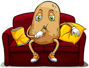 Couched potato on a red sofa