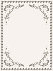 Frame vintage with decorative floral