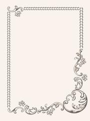 Frame vintage floral elements pattern