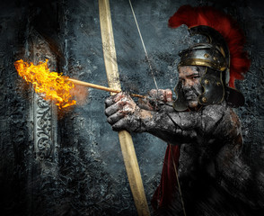 Roman soldier in action