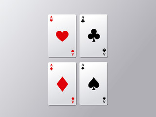 Playing poker cards. Poker aces flying isolated on gray