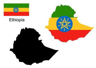 Ethiopia map and flag vector, Ethiopia map, Ethiopia flag