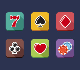 Casino game of fortune gambling, roulette, slot machine icons