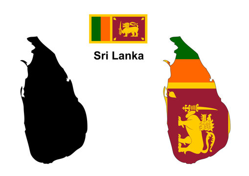 Sri Lanka map and flag vector, Sri Lanka map, Sri Lanka flag