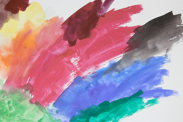 Abstract colorful watercolor painted by child