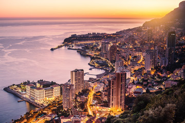 Evening view of Montecarlo, Monaco, Cote d'Azur, Europe Wall mural