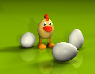 Kücken - Huhn - Ei - 3er a
