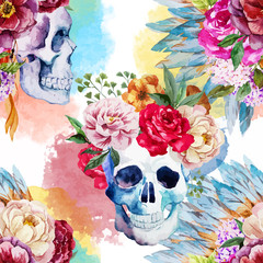 Poster Watercolor Skull Ethnic skull