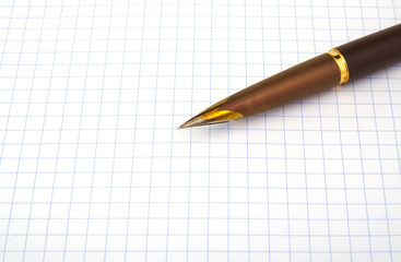 Brown fountain pen on notebook