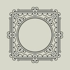 Geometric Vector Frame in Etno Floral minimal style.