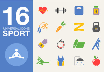 Sport and healthy life concept flat icon set of jogging, gym
