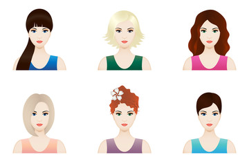Illustration of beautiful girl faces with different hairstyle