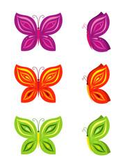 Colourful butterflies set