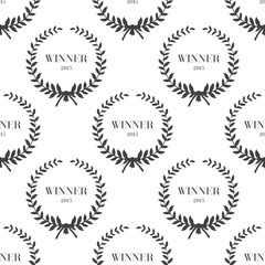 Seamless pattern with laurel wreaths Vector