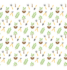 Gardening seamless pattern isolated on white background