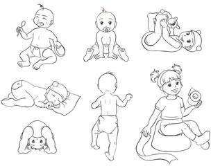 Babys Set Sammlung Kollektion Ausmalbild