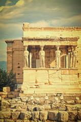Vintage Caryatides, Acropolis of Athens, Greece