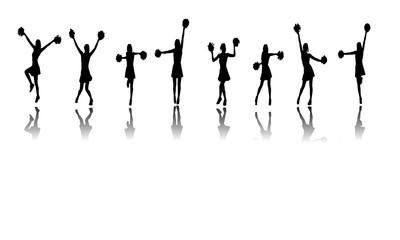 cheerleaders silhouettes