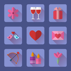 Valentine flat blue rectangle icons set