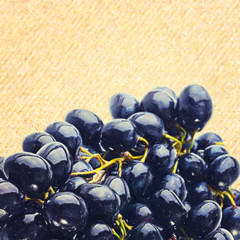 wet grape on white background, fine art simulation from real pho