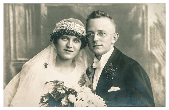 Original antique wedding photo. Vintage picture