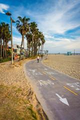 Bike path along the beach, in Venice Beach, Los Angeles, Califor