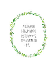 Watercolor Spicy Provence Herbs Frame with alphabet. Vector