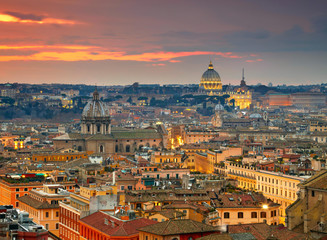 Poster de jardin Rome Wonderful view of Rome at sunset time with St Peter Cathedral
