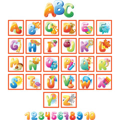 Colorful Alphabet for kids with pictures