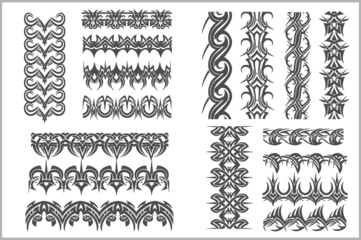 Seamles Borders and Bracelets  - vector set
