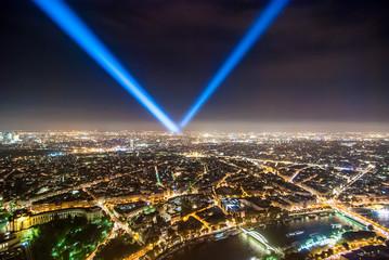 Paryż nocą panorama miasto stolica francja widok z góry