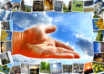 many motley images and offering hand on the sky
