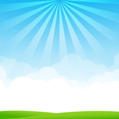 Nature Blue sky sunburst copy space and greenfiel Background 002