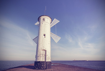 Old windmill lighthouse in Swinoujscie, Poland.