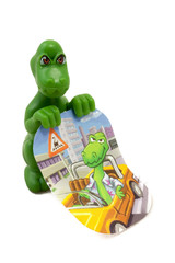 Green toy dinosaur