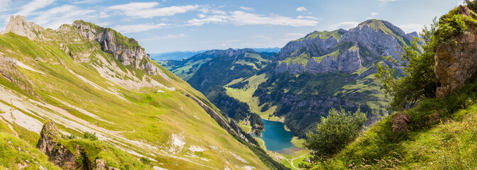 Panorama view of Seealpsee (lake) and Alpstein massif